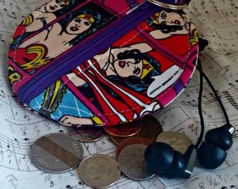 Wonder Woman Earbuds Holder - Superhero Coin Purse - DC Comics Zippered Pouch - OOAK - Custom Made