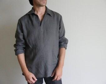 Mens Linen Shirt / Wedding Linen Shirt / Beach Shirt /Yoga Shirt / Pajamas Shirt / Lounge Shirt / Flax Shirt