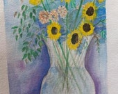 Sunflower Bouquet / wildflowers art / watercolor art / wall art / watercolor painting