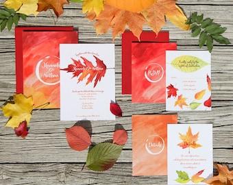 Autumn Leaves Wedding Invitation Sample