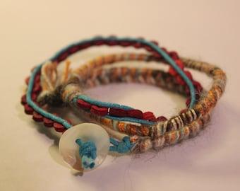 Triple Wrap Woven Wool Bracelet