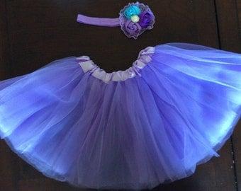 Baby girl purple tutu and headband