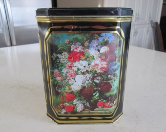 Vintage Black and Gold Floral Tin, Made in England