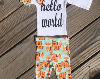 Newborn Baby coming home outfit orange fox theme going home set hello world baby shower gift coming home from hospital set, New baby set