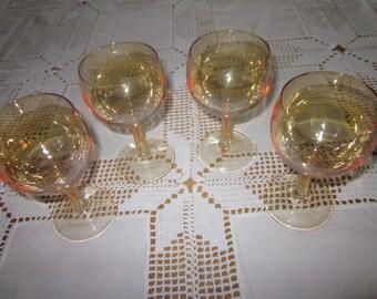 Iridescent Marigold Wine Glasses Set of 4