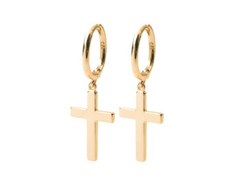 Cross hoop earrings - Cross-shaped earrings - Rock cross earrings - Gold hoop earrings - Silver hoop earrings - Minimal earrings - Rock gold