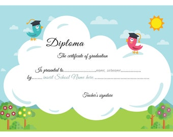 Primary school diploma,diploma kindergarten, certificate of graduation