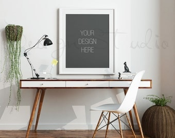 FRAME MOCKUP, Set of 4 Styled Stock Photography, 8x10, 16x20 Frame Mockup on white Wall Background , Styled Photography Poster Mockup,