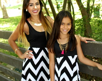 CLEARANCE for 1  dress only , black and white chevron dress, matching outfits, short dress, kid, baby dress, mommy and me, matching outfits