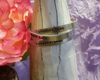Hand Stamped, Bracelet, Aluminum, Metal, Cuff