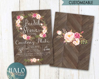 Floral Rustic Bridal Shower Invitations, Bridal Shower Invitation, printable