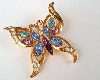 Vintage Butterfly Brooch Blue Topaz Aquamarine Amethyst Pink Tourmaline Pin