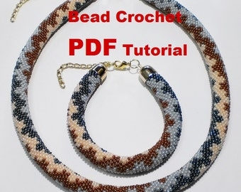 Bead crochet rope pattern for beading necklace « Lacy Waves» Instant Download