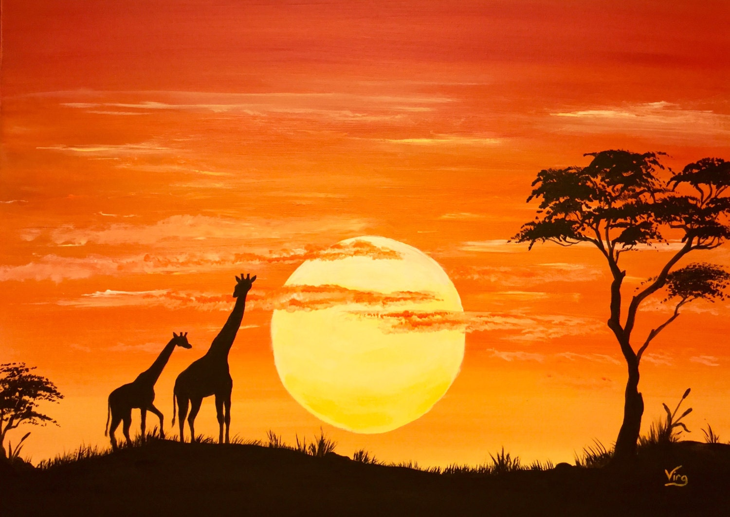 African Sunset With Animals Painting