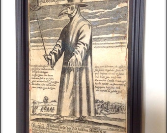 Plague Doctor aged reproduction print in frame.