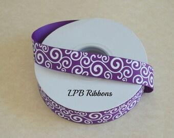 "7/8"" Purple glittered swirls, Purple ribbon, glittered ribbon, US Designer ribbon, glittered swirls"