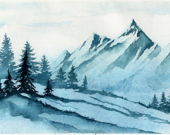 Winter mountains landscape. Original Watercolor Landscape Painting.