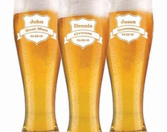 Groomsmen Gift, Personalized Beer Glasses, Custom Engraved Pilsner Glass, Wedding Party Gifts, Gifts for Groomsmen