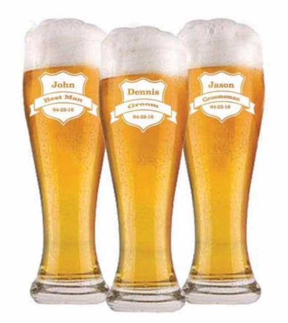 Engraved Wedding Beer Glasses : , Personalized Beer Glasses, Custom Engraved Pilsner Glass, Wedding ...