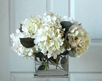 Large Silk White & Cream Hydrangea Arrangement-Flower Arrangement-Silk flowers-White hydrangeas -Fake flowers-White flowers