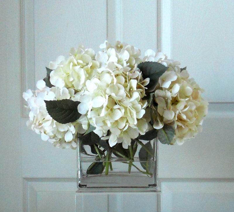 Large Silk White & Cream Hydrangea Arrangement-Flower Arrangement-Silk flowers-White hydrangeas -Fake flowers-Rustic arrangement
