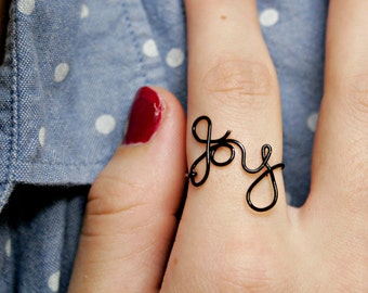 Cute Joy Wire Ring Simple and Cute Bridesmaid Gift Handmade