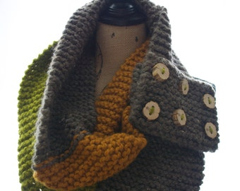 Double Wrap Around Scarf with Wooden Buttons
