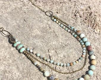 Amazonite semi precious multi strand necklace and earring set