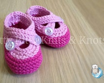 Double Strap Booties, Bright Pink & Light Pink