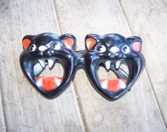Vintage Halloween Cat Mask Glasses Adult Size