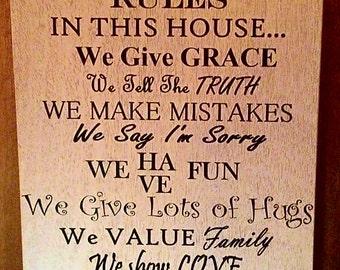 Custom Family Rules Vinyl Sign