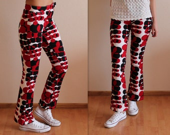 Vintage Bell Bottom Pants Op Art Print Pants Womens Red White Black Trousers Psychedelic Print Pants Boho 70s Pants Hippie Pants Medium Size