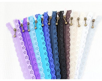 20cm / 8 inch Long Solid Colorful Lace Style Bag Purse Zipper with Drop Style Zipper Pull, 20 Colors Available, 5 PCS, 039