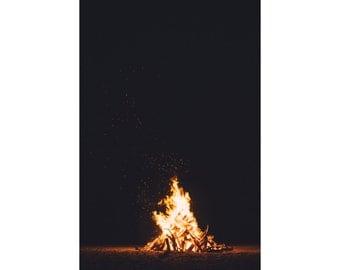 Bonfire Print - Night Beach Photo - Fire Photography - Fire Digital Photo - Beach Print - Digital Photo - Digital Download - Fire Wall Decor