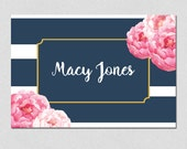 Personalized Folded Note Cards, Navy Stripe Note Cards, Floral Stationary