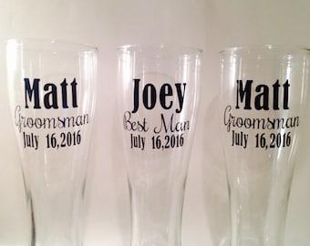 THREE - Custom  - Beer Glasses - Wedding - Guys - Gifts - Wedding - Wedding party -