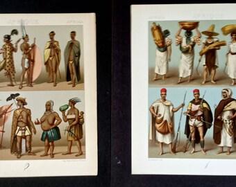 2 Color Lithographs - Afrique - from Le Costume Historique (c. 1870s-1880s)