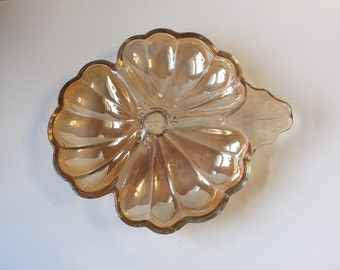 Vintage Marigold Carnival Glass Divided Dish