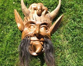 Horned mask, devil horn mask, Halloween devil mask, vintage devil mask, South American mask, unique wood mask, devil face mask, halloween