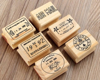 6 pcs Travel Passport Stamp Ver.2 , Wooden Rubber Stamps, Travel Stamps for Traveller's Notebook, Journal Accessories - STM006