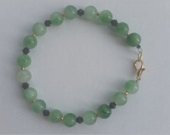 jade and black Swarovski crystals