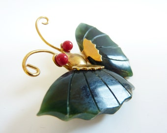 Vintage 1950's Jade Butterfly Brooch and Pendant