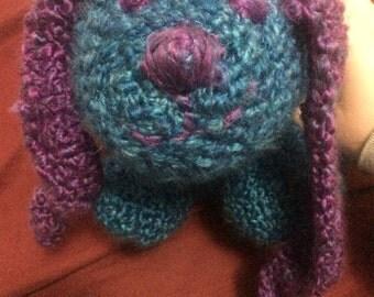 Soft Bunny Rabbit Stuffed Animal - Purple and Blue - Handmade Crochet - Gift Kid Child