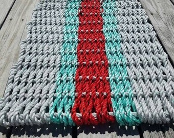 "3 Color Lobster Rope ""Mini Mat"" - In Stock - 24x18"