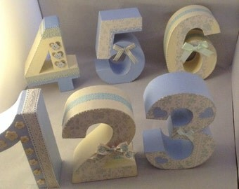 Hand decorated chunky table numbers Wedding table Wedding table numbers Wedding table signs Wedding table decor Wedding table number holder