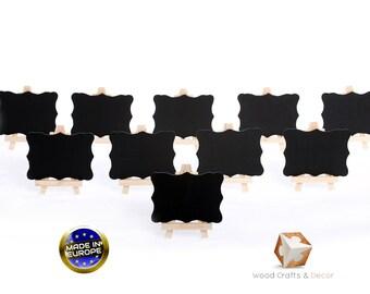 Set of 10 natural wood easel chalkboard place card holder wedding blackboard