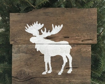 Rustic Barnwood Moose - Handpainted Signs - Moose Art