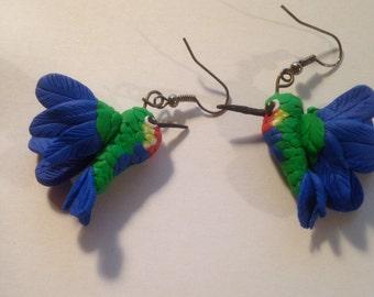 Polymer Clay Hummingbird Earrings