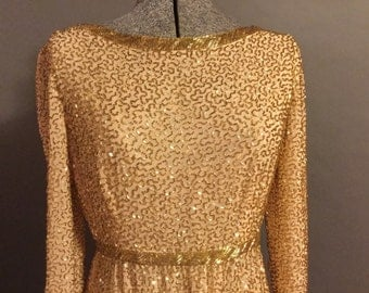 Victoria Royal silk beaded evening gown vintage size 10