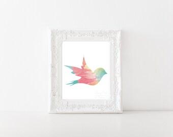 Bright Cheerful Watercolor Bird Print